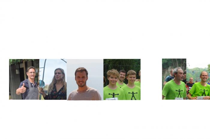 Marc, Judith, Karel, Jan, Tom, Egbert en Gert lopen voor Rikolto