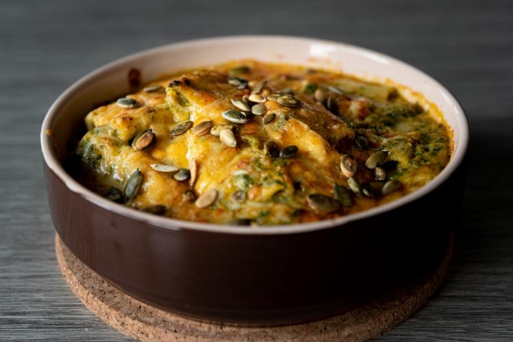 Vegetarische pompoen mac and cheese